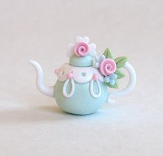 Miniature Shabby Pink Roses and Swags Teapot by ArtisticSpirit