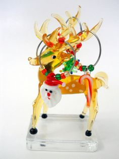 Reindeer Christmas Glass Figure with 4 Holiday Wine Charms Santa Tree Candy Cane