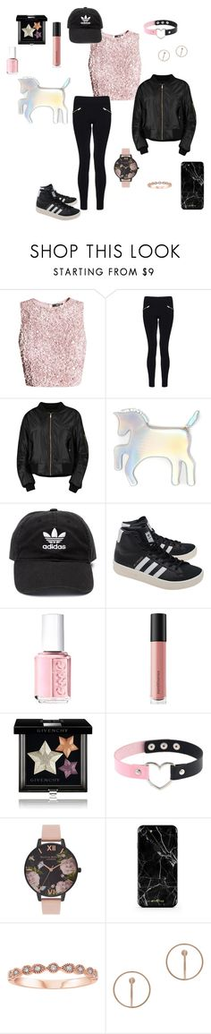 """Popular Girl♡"" by blue-cookies on Polyvore featuring Dorothy Perkins, Boohoo, WithChic, adidas, adidas Originals, Essie, Bare Escentuals, Givenchy, Olivia Burton and Charlotte Chesnais"