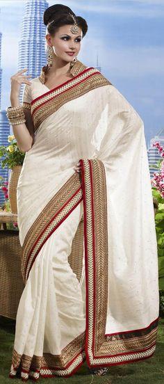 Off White Art Matka #Silk #Saree with #Blouse @ US $109.37