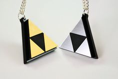 Zelda Triforce Necklace -Laser Engraved Silver or Gold Acrylic - Limited Time Sale Price $12