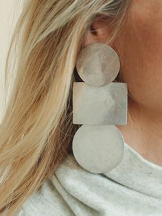 Annie Costello Brown - Popova Disc Earrings - Silver