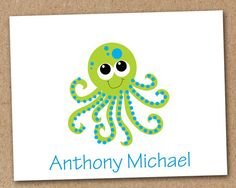 Octopus Card Personalized Kids Note Cards set of by Luv2ScrapForU, $9.50