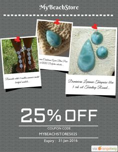 We are happy to announce 25% OFF our Entire Store. Coupon Code: MYBEACHSTORE5025 Min Purchase: 100.00 Expiry: 31-Jan-2016 Click here to view all products:  Click here to avail coupon: https://orangetwig.com/shops/AABCLyV/campaigns/AAB2PVo?cb=2016001&sn=MyBeachStore&ch=pin&crid=AAB2PWf