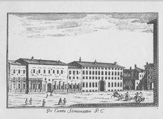 """Palazzo Simonetta e Palazzo Medici (scomparsi), via Brera, di fronte alla Pinacoteca, Milano. Marc'Antonio Dal Re, """"Vedute di Milano"""", incisione 35 (ca. 1745)."""