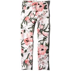 Abercrombie & Fitch Floral Skimmer Pants (455 ZAR) ❤ liked on Polyvore featuring pants, capris, bottoms, bottoms pants, jeans, pantalones, white floral, skinny leg pants, abercrombie & fitch and crop pants