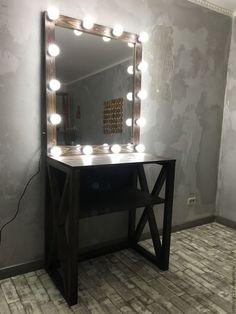 Купить Гримерное зеркало ESPRESSO - коричневый, зеркало, зеркало гримерное, зеркало с лампочками, зеркало необычное