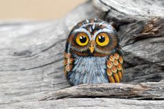 hand painted brown owl by Uniquestoneart on Etsy