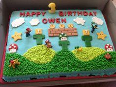 Mario Birthday Cake, Super Mario Birthday, 5th Birthday, Mario Kart Cake, Super Mario Cake, Boy Cakes, Cakes For Boys, Mario Bros., Mario Party