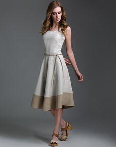 Linen Cotton Jacquard Flared Braided Belt Dress