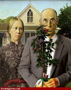 American Gothic Earth Day by American Gothic Painting, American Gothic House, Grant Wood American Gothic, American Gothic Parody, American Art, Famous Art Pieces, Famous Artwork, Grant Wood Paintings, Iowa