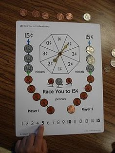 This game is very popular in Math Stations....we have learned to trade five pennies for a nickel!