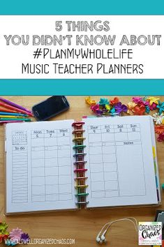5 Things You Didn't Know About #PlanMyWholeLife Music Teacher Planners   Organized Chaos Elementary Choir, Elementary Music Lessons, Vocal Lessons, Music Lessons For Kids, Kindergarten Lessons, Teacher Planner, Teacher Tips, Teacher Resources, Music Education