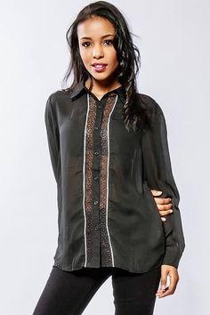 Dámska čierna košeľa s krajkou Shirt Blouses, Button Up Shirts, Buttons, Plugs