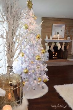 Create a magical snowy scene in your living room with furry white accessories for Christmas. HomeGoods Sponsored Pin.