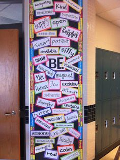 """BE"" bulletin board -- could do this with ""be a leader"" and highlight leadership words. Or everyone could choose one to decorate the first week of school... then mount and laminate."