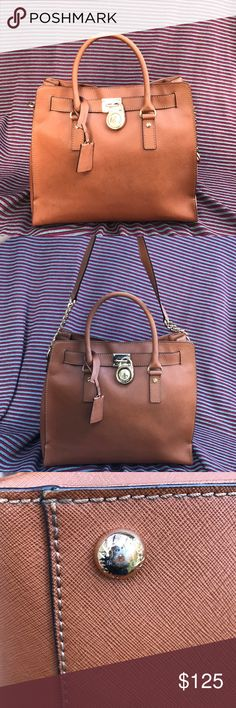 """Large tan Hamilton Michael Kors purse Tan leather handbag with gold hardware bottom """"feet"""" are a little scratched shown in 3rd picture leather in good quality! Open to offers(: KORS Michael Kors Bags Totes"""