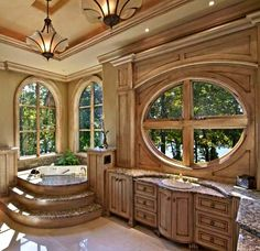 Look at this bathroom with the beautiful wood and windows.  How enjoyable.                                                                                                                                                                                 More