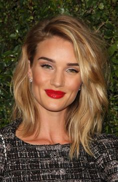 Rosie Huntington Whiteley. Dewy, bronzed peachy skin, natural glowing makeup, golden blonde balayage hair with dark roots in a piecey, textured bob / lob, green eyes, dark brows and a glossy red lip. Edited by @CallistaLorian (please credit me)