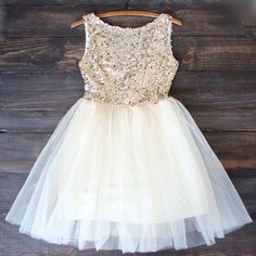 The favorite right now - find shoes and earrings...sugar plum gold sequin darling party dress