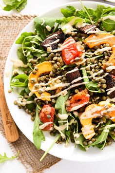 French Lentil and Roasted Vegetable Salad with Creamy Tahini Dressing | vegan, gluten-free