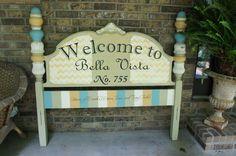 repurposed vintage headboard sign, chalk paint, painted furniture, repurposing upcycling, Vintage headboard makeover by Bella Tucker Decorative Finishes Repurposed Items, Repurposed Furniture, Painted Furniture, Furniture Ideas, Painted Floors, Chevron Furniture, Furniture Stencil, Homemade Furniture, Repurposed Wood