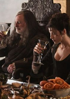 Claire and Colum getting crunk! Can't wait for Outlander! Starz