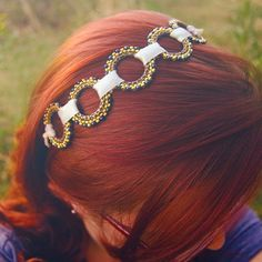 Aztécké kruhy - Látková stužková čelenka Beads, Hair Styles, Fashion, Beading, Moda, La Mode, Bead, Hair Looks, Fasion
