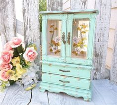 Mint Green SHABBY CHIC Jewelry Box / Armoire by HuckleberryVntg, $124.00 by Terri Fitzsimmons