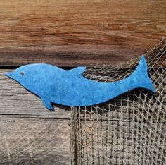 Dolphin - Walter - Handmade recycled metal wall art Turquoise Blue 6 x 17  on etsy