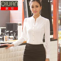 Autumn women's white shirt professional women's fashion stand collar formal chiffon blouse ol long-sleeve shirt 50