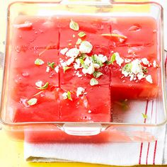 Watermelon Salad - mix chopped fruit, such as peeled peaches, nectarines, pears, and grapes, with watermelon juice and gelatin for this salad.