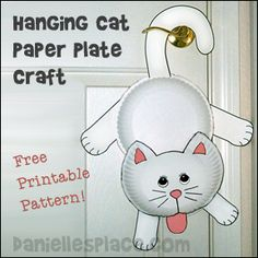 Hanging Cat Paper Plate Craft for Kids from www.daniellesplace.com