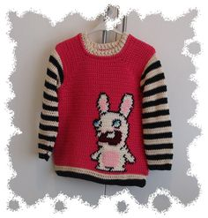 Bwa bwa bwa bwahhhhhh! Crochet rabbid sweater handmade by sweetlittlebugs !!! Find Sweetlittlebugs shop on etsy