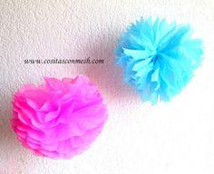 Cómo hacer pompones de papel para decoración ~ cositasconmesh