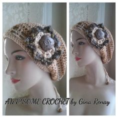 ~ #CROCHET 1 HAT DAILY! ** ~ Day 354 ** AWE!Some Crochet by Gina Renay ImaGINAtions To purchase, send inquiry to ginarenay@yahoo.com