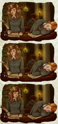 """""""Pay attention, R-"""" *nevermind* c: My first Romione fanart! The Brightest Witch and The King Harry Potter Couples, Arte Do Harry Potter, Harry Potter Drawings, Harry Potter Ships, Yer A Wizard Harry, Harry Potter Facts, Harry Potter Love, Harry Potter Fandom, Harry Potter World"""