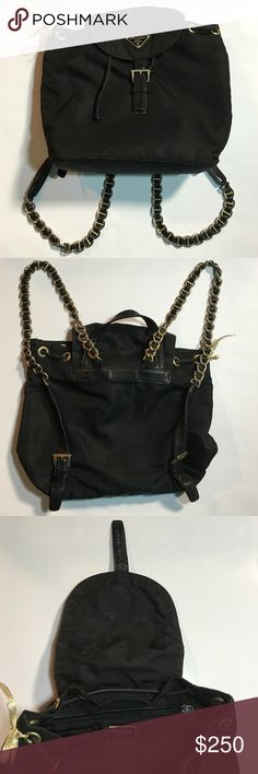 """Vintage"" Prada Backpack Preowned black nylon mini backpack with gold chain straps. In great condition! Prada Bags Backpacks"