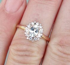 White Sapphire 14k Rose Gold Diamond Cluster Engagement Ring or Wedding Anniversary Ring