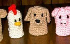 Free Crochet Pattern For Farmyard Finger Puppets Crochet For Kids, Crochet Baby, Free Crochet, Crochet Hook Sizes, Crochet Stitches, Knitting Projects, Crochet Projects, Amigurumi Patterns, Crochet Patterns