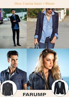A ideia é compor um look casual chic e você não sabe o que vestir? A Farump te ajuda! A combinação camisa jeans + blazer de corte clássico é inusitada e pode ser usada por homens e mulheres.