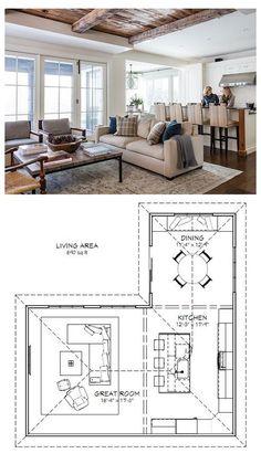 Living Room Floor Plans, Living Room Flooring, Diy Flooring, Kitchen Flooring, Living Room Kitchen Layout, Living Room Decor, Kitchen Living, Living Rooms, Furniture Layout