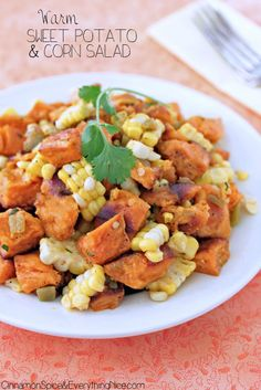 Warm Sweet Potato and Corn Salad 4 tablespoons olive oil, divided 1.5 pounds (4-5 cups) sweet potatoes, cut in 3/4-inch cubes coarse salt and fresh black pepper 1 cup corn (from 1 large ear of cooked corn on the cob) 1 can (4 ounces) green chiles, drained (optional) 1 - 2 tablespoons fresh squeezed lime juice 1 teaspoon fresh chopped cilantro or parsley