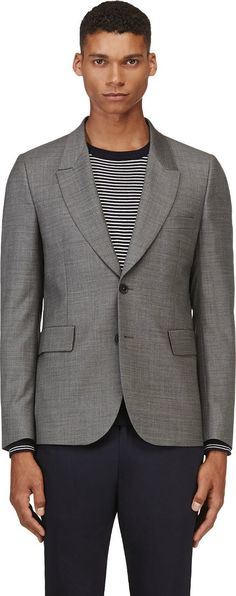 Paul Smith - Grey Wool Crosshatched Blazer | SSENSE
