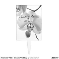 Black and White Orchids Wedding Cake Topper