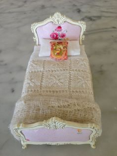 "French dolls house bed by maisonminis on Etsy. I'm thinking of using this bedspread idea or making it myself to go w/ the ""wrought iron"" bed frame for girl's room."