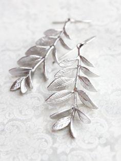 Leafy Branch Earrings Long Silver Earrings by apocketofposies