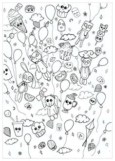 Doodle Coloring Page Of A PARTY With Kawaii Characters Artist Chloe