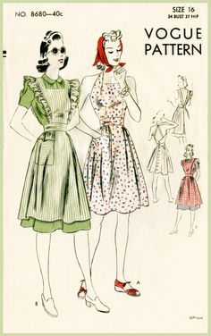 1940s 40S vintage sewing pattern bust 34 b34 play dress halter pinafore ruffle apron repro