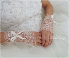 Lace Bridal Gloves, Fingerless Gloves, Wedding Cuffs, Bridal Accessories, Bridal Wrist Gloves by SelinishDesign on Etsy